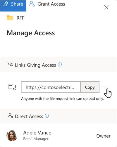 """Der Bereich """"Zugriff verwalten"""" in OneDrive for Business"""