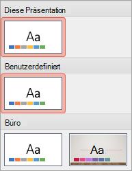 """Neues Design in der Gruppe """"Benutzerdefiniert"""""""