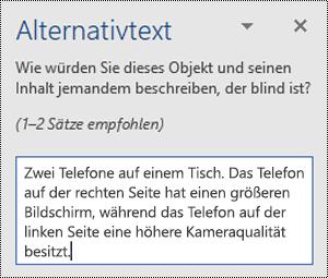 Alternativtextbereich mit einem Beispiel für Alternativtext in Word für Windows.
