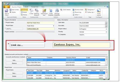 Geschäftsprojekt mit Verknüpfungsinformationen
