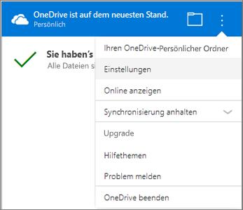 OneDrive-Synchronisierungsaktivitätscenter, Weitere Einstellungen