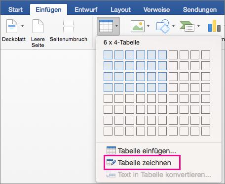 Zum Erstellen einer benutzerdefinierten Tabelle ist zeichnen Tabelle markiert