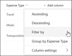 SharePoint-Spaltenüberschrift Filter nach Menü Option