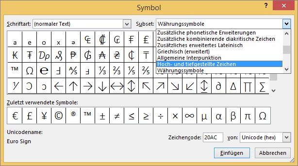 Zeigt die Untergruppen 'Tiefgestellt' und 'Hochgestellt' im Dialogfeld 'Symbol' in PowerPoint