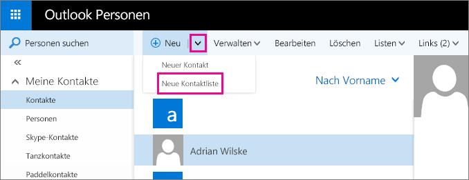 """Screenshot eines Teils der Symbolleiste auf der Outlook-Seite """"Personen"""". Der Screenshot zeigt die Option """"Neue Kontaktliste"""" im Dropdownmenü """"Neu""""."""