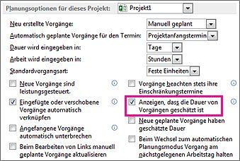 Dialogfeld 'Optionen' Registerkarte 'Terminplan', Bereich 'Planungsoptionen für dieses Projekt'