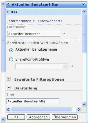 Toolbereich für das Webpart 'Aktueller Benutzerfilter'