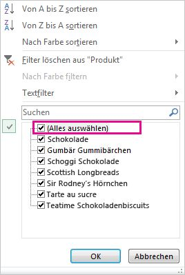 Kontrollkästchen 'Alle anzeigen' im Katalog für Sortieren und Filtern