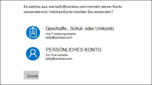 Melden Sie sich mit zwei e-Mail-Adressen Bildschirm