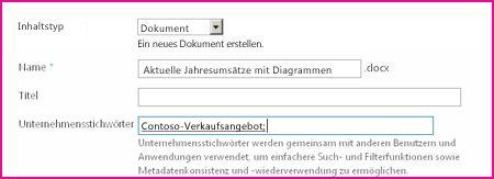 Benutzer können Stichwörter im Dialogfeld für Dokumenteigenschaften eingeben.
