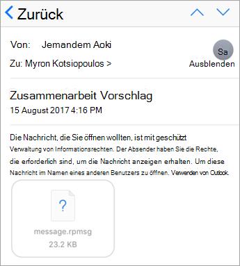 Geschützte Nachrichten in der app für iOS Mail nicht angezeigt werden, wenn der Administrator nicht erlaubt hat.