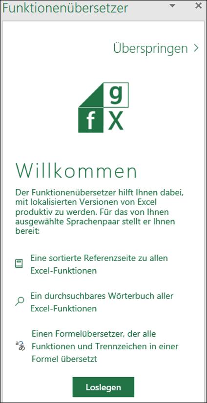 Begrüßungsseite des Funktionenübersetzers für Excel
