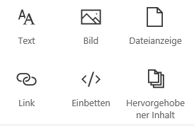 "Screenshot des Menüs ""Webpart"" in SharePoint."