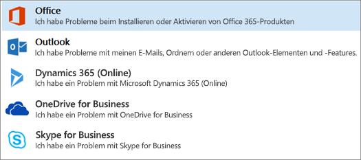 """Zeigt die hervorgehobene Option """"Office"""" im Support- und Wiederherstellungs-Assistenten an"""