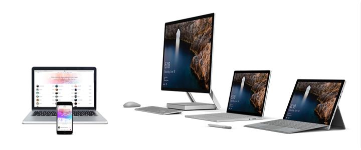 Ein Foto der vier Surface-Modelle