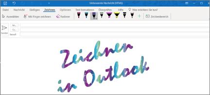 E-Mail-Nachricht mit einer Zeichnung in Outlook, die funkelt