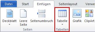 Befehl 'Tabelle' auf der Registerkarte 'Einfügen'