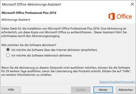 Zeigt den Assistenten für die Office-Aktivierung, der möglicherweise nach der Installation von Office angezeigt wird.