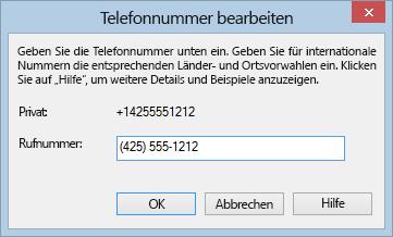 Lync-Telefonnummernbeispiel für das internationale Nummernformat