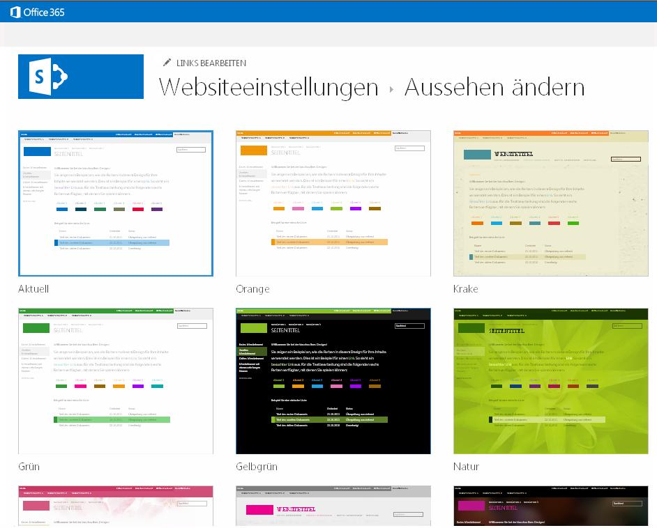 Auswählen von Aussehen und Designs, die in SharePoint Online-Veröffentlichungswebsites verfügbar sind