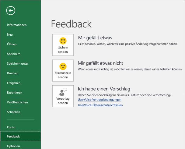 """Klicken Sie auf """"Datei"""" > """"Feedback"""", um Microsoft Ihre Kommentare und Vorschläge zu Excel mitzuteilen."""