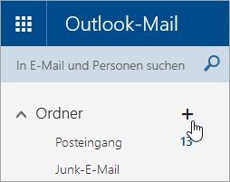 """Ein Screenshot der Schaltfläche """"Neuen Ordner erstellen"""" in Outlook.com"""