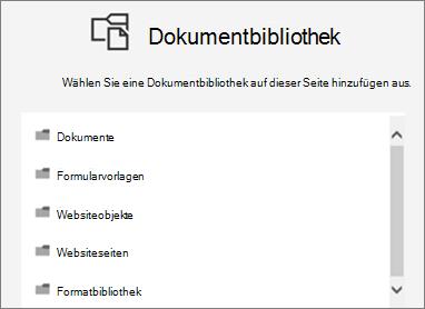 Wählen Sie eine Dokumentbibliothek auf einer Seite speichern