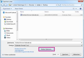 Dialogfeld 'Speichern unter' im Outlook-Kalender