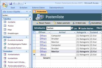 Verwenden der Posten-Datenbankvorlage