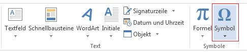 """Klicken Sie auf der Registerkarte """"Einfügen"""" auf """"Symbol""""."""