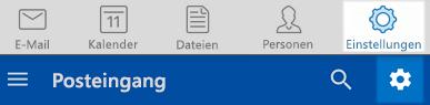 Outlook-Einstellungen unter iOS und Android