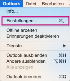 Klicken Sie im Outlook-Menü auf Einstellungen.