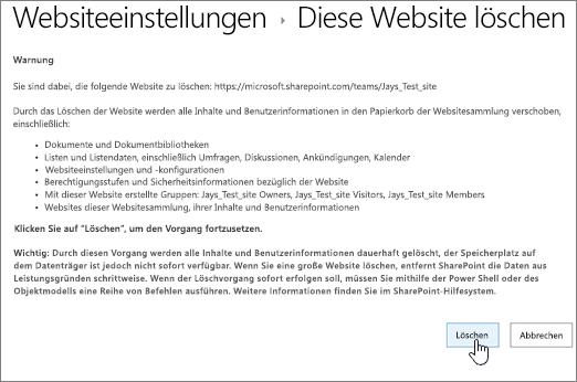 Bildschirm mit Warnhinweis. Sie werden aufgefordert, das Löschen der Website zu bestätigen.