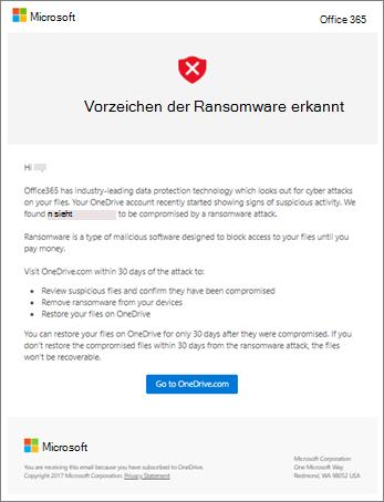 Screenshot der Ransomware-Erkennungs-e-Mail von Microsoft