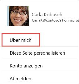 "Das Dialogfeld ""Profil"" mit hervorgehobenem ""Über mich"""