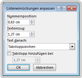 Dialogfeld 'Listeneinzug anpassen'