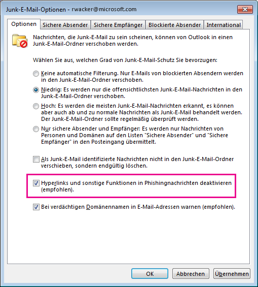 Dialogfeld 'Junk-E-Mail' in Outlook 2013