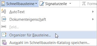 """Auswählen des Organizers für Bausteine im Menü """"Schnellbausteine"""""""