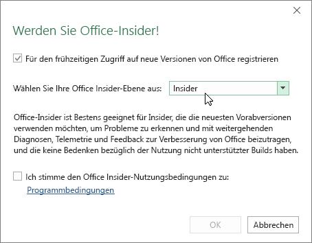 """Dialogfeld """"An Office-Insider teilnehmen"""" mit der Option """"Insider Ebene"""""""