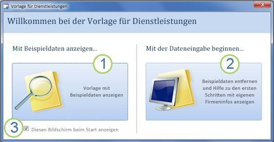 Startformular der Webdatenbankvorlage 'Dienstleistungen'