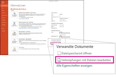 Verknüpfungen mit Dateien bearbeiten