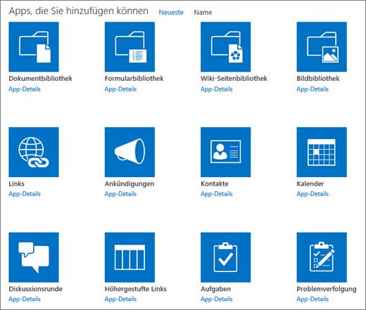 Bildschirm mit hinzufügbaren Apps