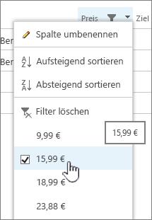 Klicken Sie auf die Spaltenüberschrift, und wählen Sie den Wert für den Filter aus.