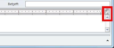Befehl 'Lineal' in einem neuen Nachrichtenfenster