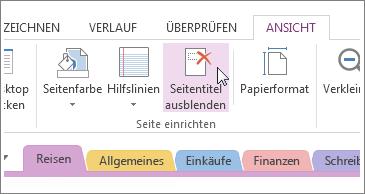 Anzeigen oder Ausblenden des Seitentitels mit der Schaltfläche 'Seitentitel ausblenden'