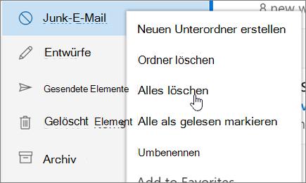 Ein Screenshot zeigt dem Löschen aller ausgewählte Option für den Junk-e-Mail-Ordner.