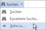 """Option """"Gehe zu"""" im Menü """"Suchen"""""""