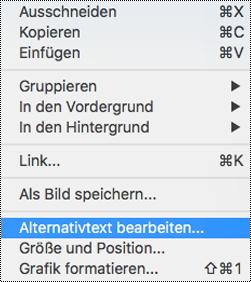 """Option """"Alternativtext bearbeiten"""" im Kontextmenü in PowerPoint für Mac"""