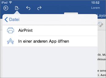 Mit dem Druckdialogfeld in Word für iOS können Sie Ihr Dokument drucken oder es in einer anderen App öffnen.