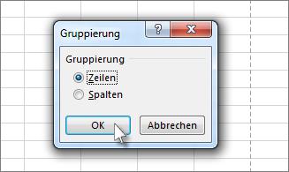 Klicken Sie auf 'Zeilen' und dann auf 'OK'